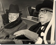 เซียนหุ้น Bernard Baruch และอดีตนายกรัฐมนตรีแห่งสหราชอาณาจักร Winston Churchill แห่งประในปี 1961